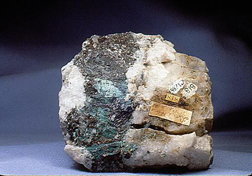 Copper oxide zoned quartz and schist