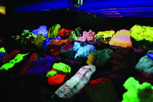 Fluorescing minerals at shows