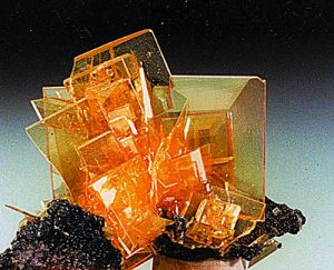 Transparent Wulfenite crystals