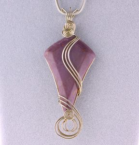 Wire-wrap setting of a Turkish purple jade