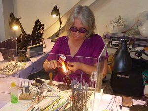 Forging lampwork beads