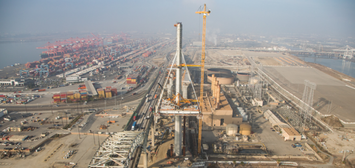Aerial view of bridge construction