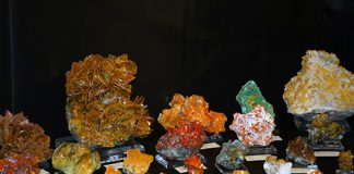 Wulfenite display at the Tucson Show