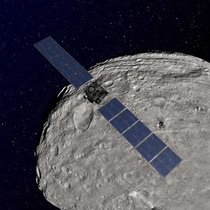 Dawn spacecraft orbiting Vesta