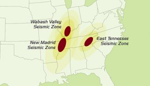 Earthquake Zone map (south eastern U.S.)