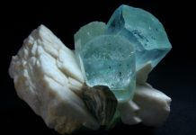 Aquamarine on albite