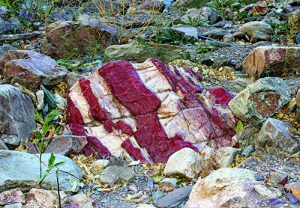 Jasper boulder in the streambed
