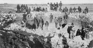1890 photo of Native Americans at a pipestone quarry