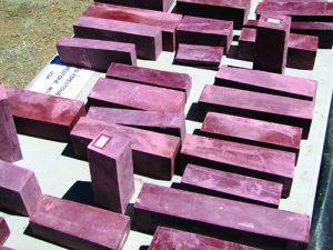Blocks of pipestone