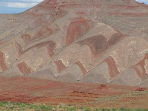 Hematite on formations near Mexican Hat, Utah