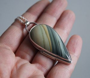 Picture Jasper pendant and silver necklace