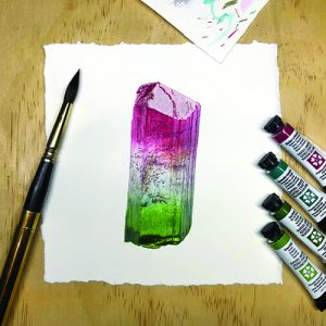 Painting of a tourmaline specimen