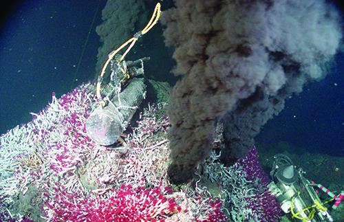 Ocean black smoker geysers
