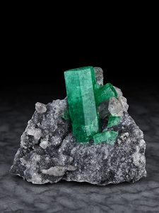 Emerald on calcite from Coscuez Mine