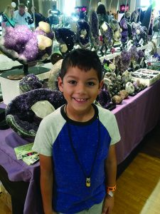 Theo at a gem and mineral show