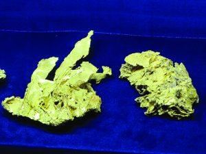 Crystallized gold specimens
