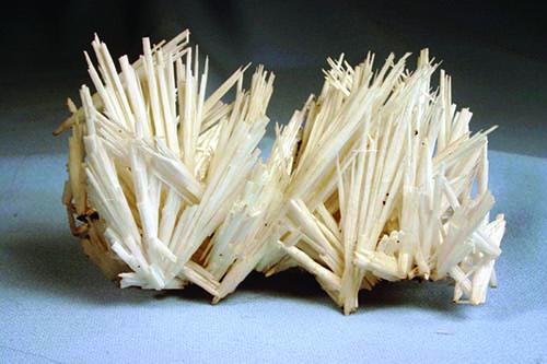 Spiky snow white cerussite crystals