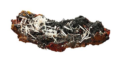 """Jackstraw"" group of cerussite needles on dark limontic matrix"