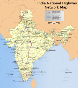 Highway map of India