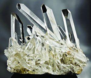 Clear cluster of quartz crystals