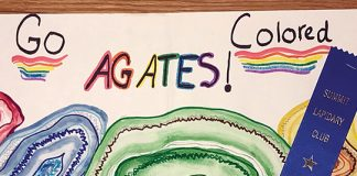 """Go Colored Agates!"" poster"