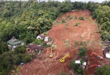 Landslide in Nganjuk Regency, Indonesia