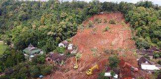 Landslide in Nganjuk Regency, Indonesia