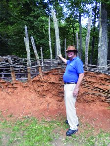 Earthen wall at reconstructed Monacan village