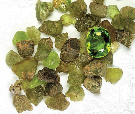 Crystals of forsterite var. peridot