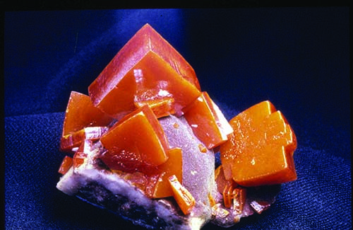 orange wulfenite crystals